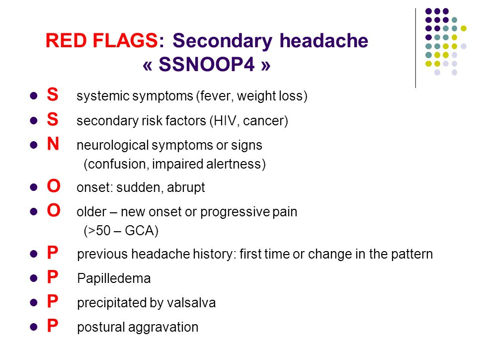 Image result for red flags for headache