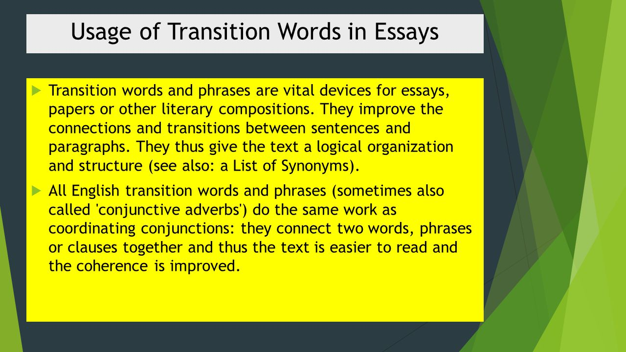 Transition Words And Phrases Ppt Video Online Download