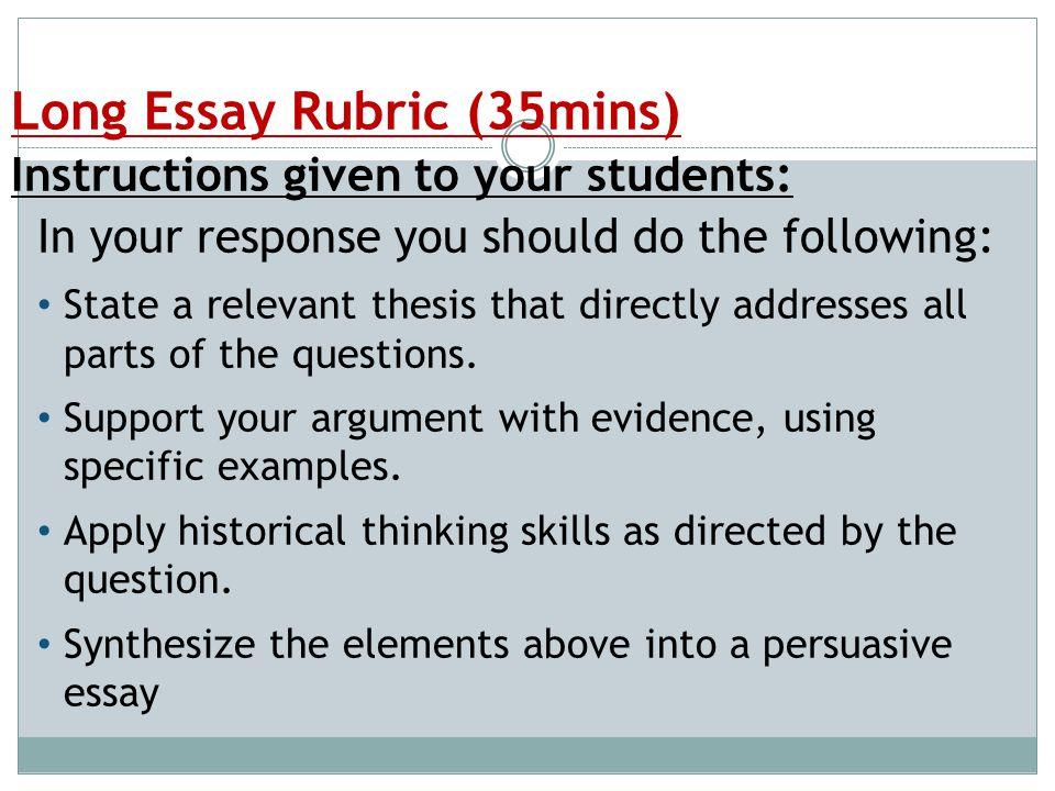 The Long Essay Free Response Essay FRQ  ppt video online download