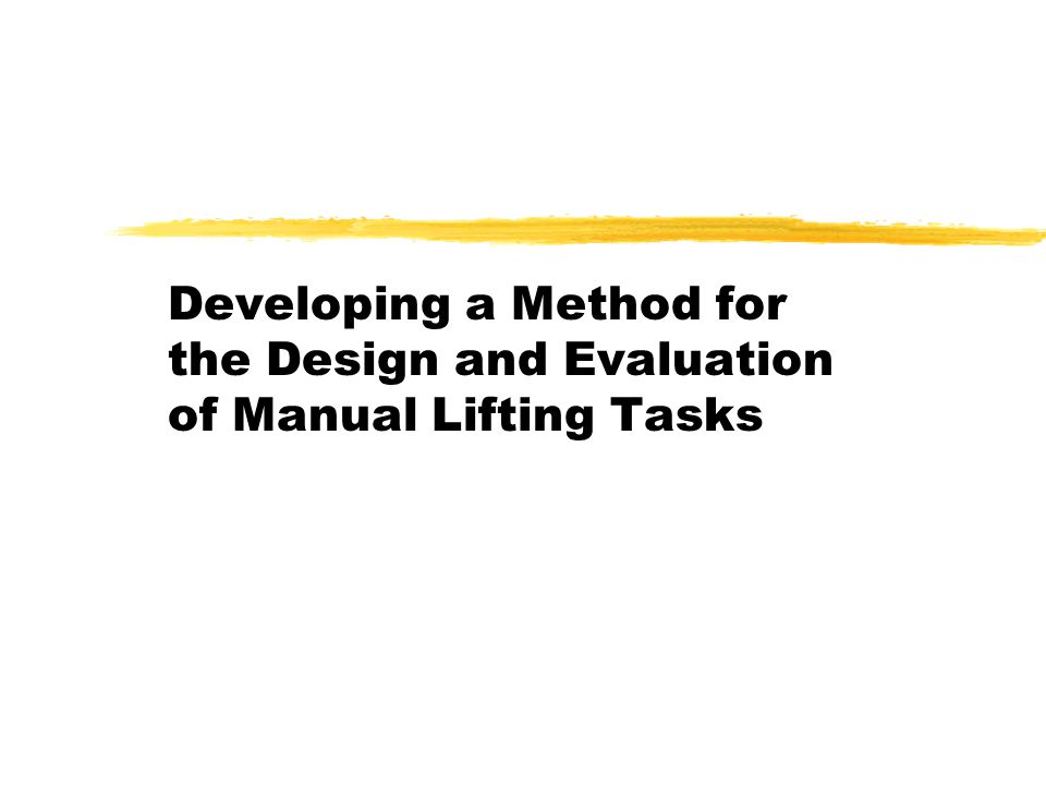 Application Manual For The Revised Niosh Lifting Equation