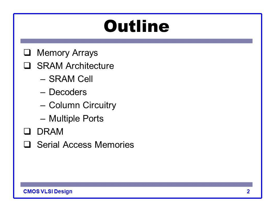Introduction To CMOS VLSI Design SRAMDRAM Ppt Video