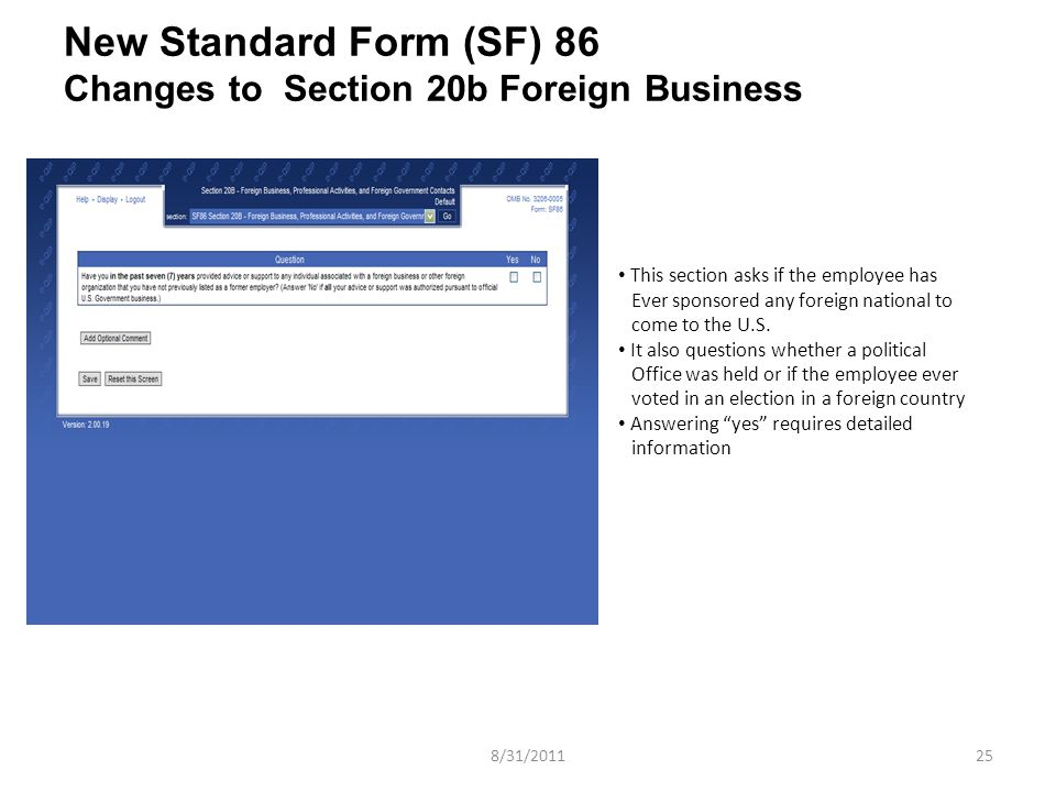 New Standard Form (sf) 86 Jpas Release ( ) Information  Ppt Video Online Download