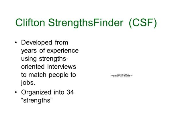 Clifton StrengthsFinder CSF MyersBriggs Type Indicator
