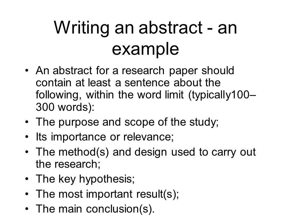 Sample Essay Abstract Writing An Abstract For Your Research Paper