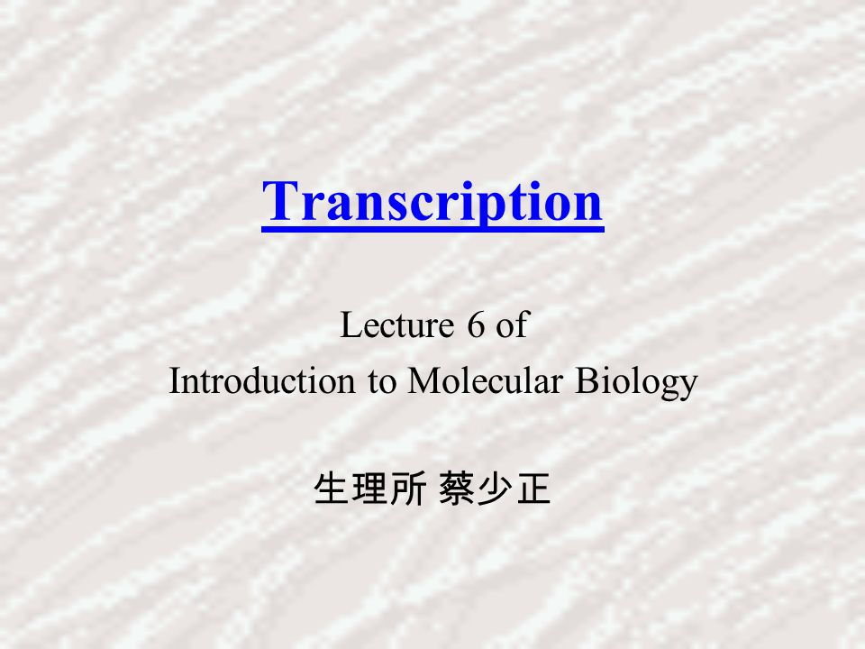 Lecture 6 of Introduction to Molecular Biology 生理所 蔡少正