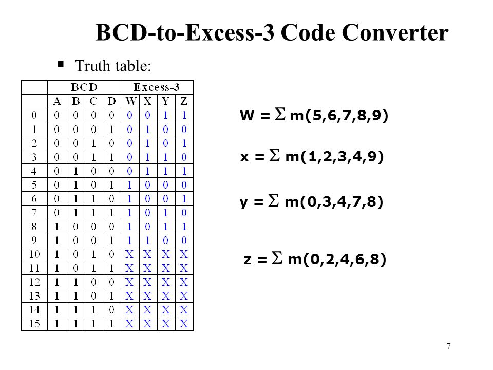 bcd to excess 3 code converter