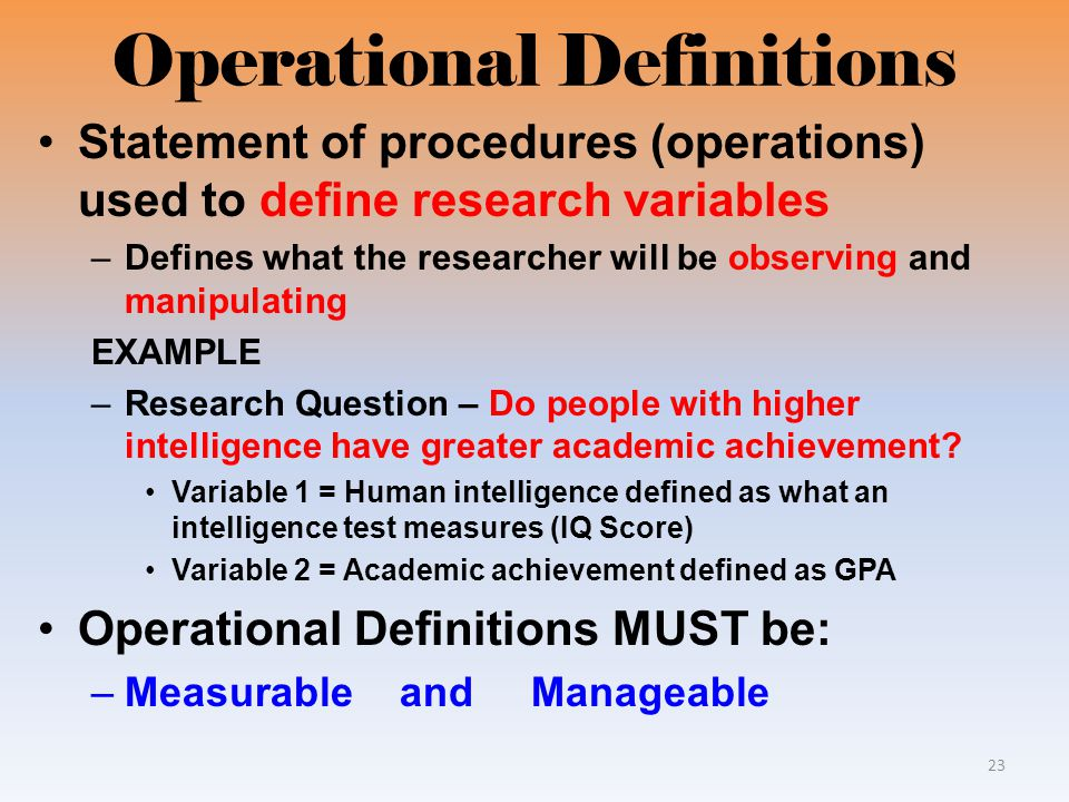 What Is Operational Definition In Research Paper Coursework Service