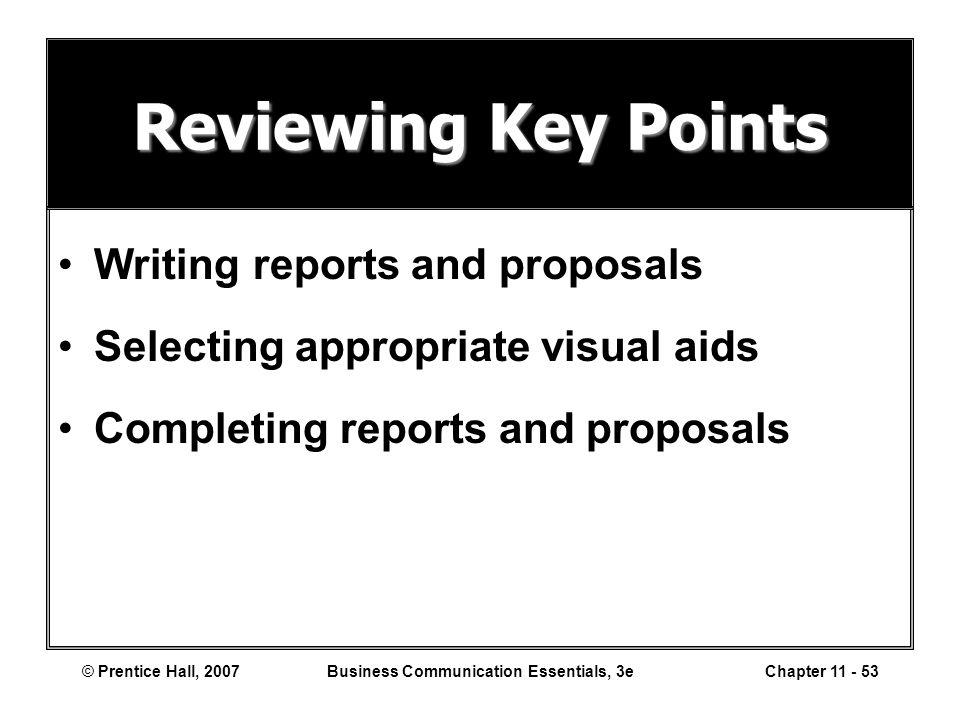 Writing and completing business reports and proposals
