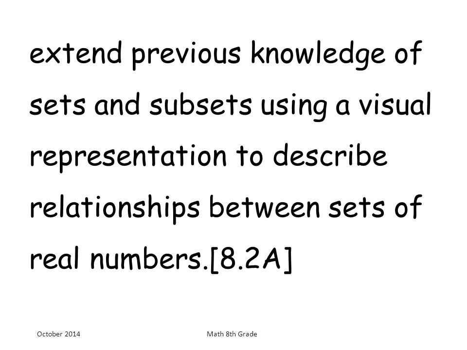 Extend previous knowledge of sets and subsets using a