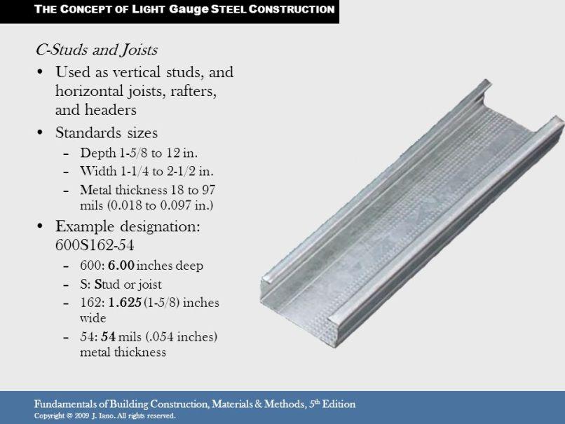 Light Gauge Steel Framing Standard Sizes   Frameswalls.org