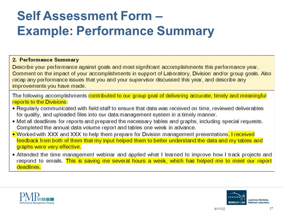 7 self summary examples