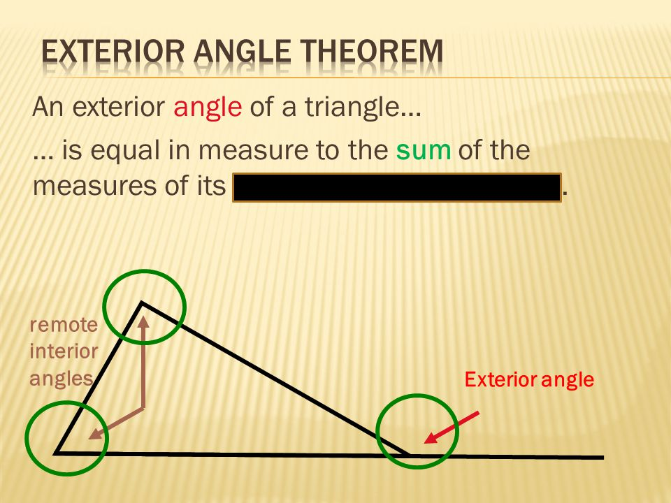 Lesson 43 Triangle Inequalities Amp Exterior Angles Ppt