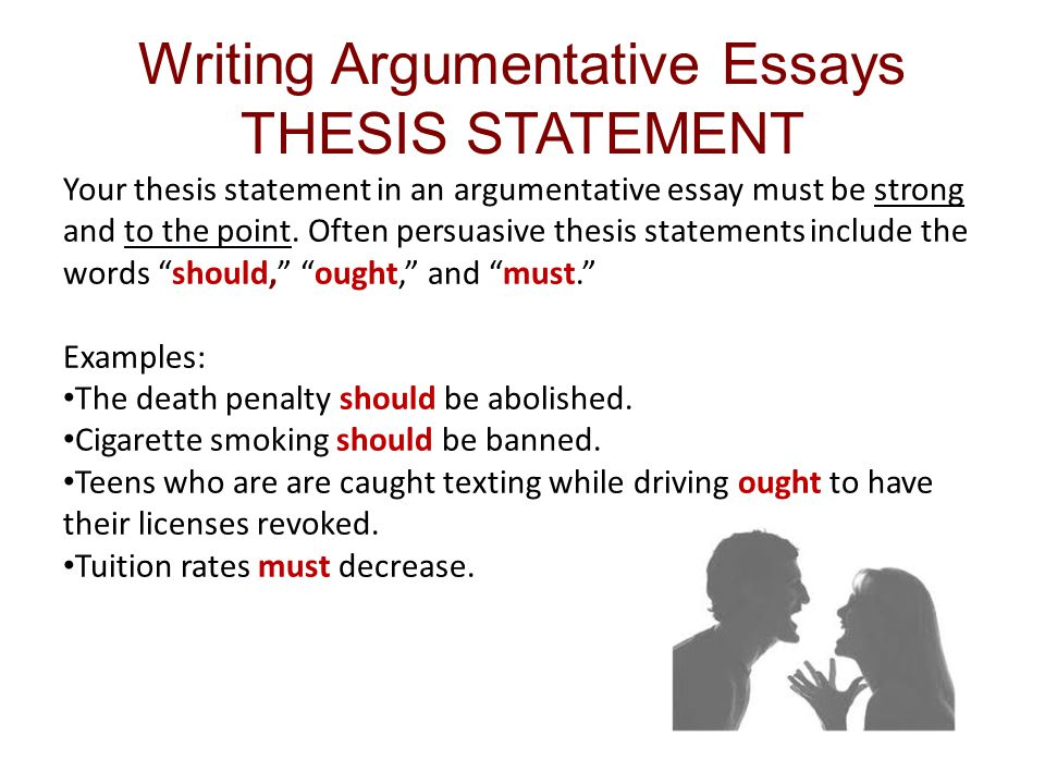 the thesis statement of an argument essay must