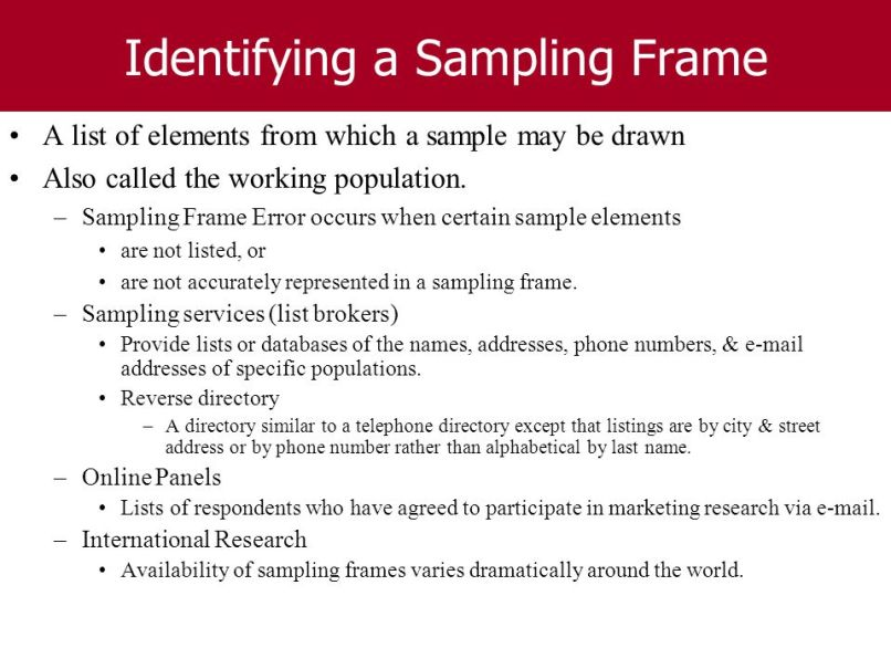 Sampling Frame Examples In Research | Frameswalls.org