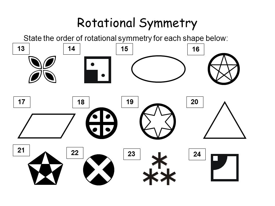 Rotational Symmetry All 2 dimensional shapes have some rotational symmetry. The degree of