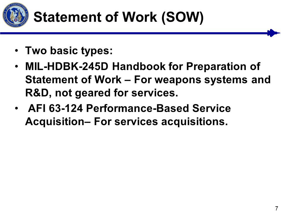Statement of Objectives (SOO) and Statement of Work (SOW