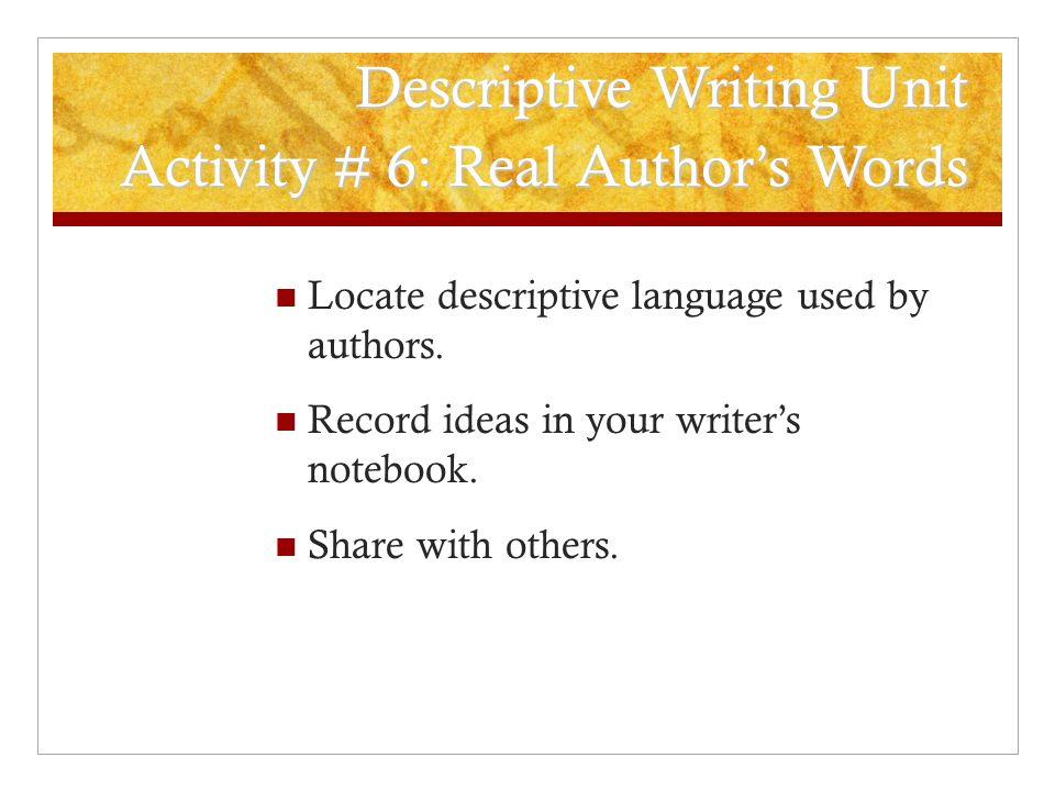 Descriptive essay words used