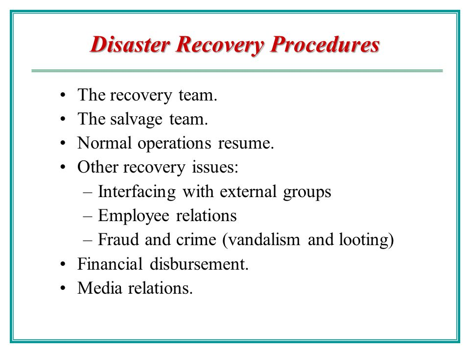Disaster Recovery Chao Hsien Chu Ph D Ppt Download