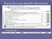 Social Security Benefits Worksheet 1040a. Worksheets ...