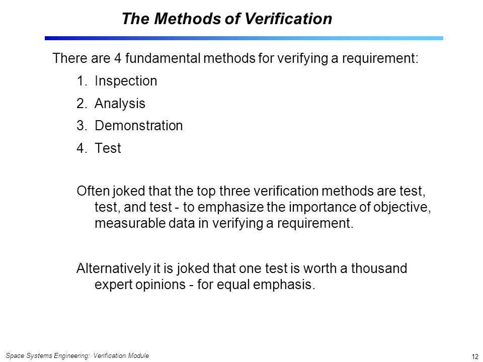 Verification Module Space Systems Engineering version ppt