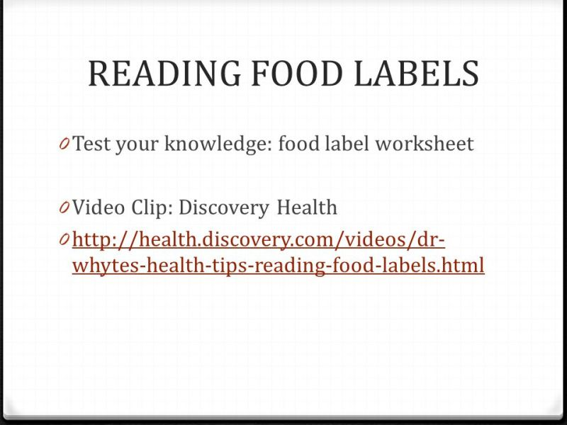 reading a food label worksheet – Food Label Worksheet