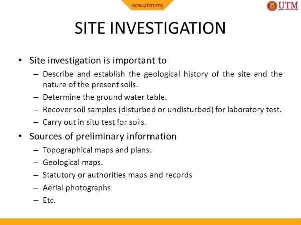 SITE WORKS SITE INVESTIGATION AND SOIL INVESTIGATION ppt