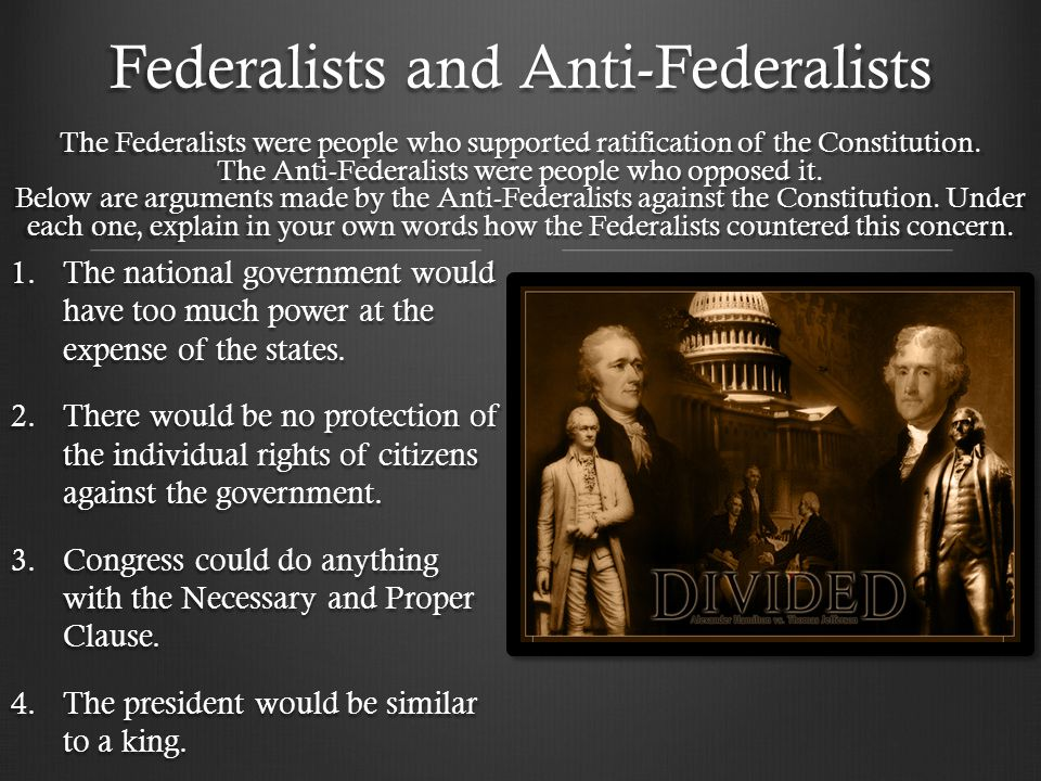 federalist and anti federalist arguments