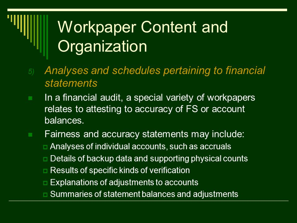 Workpapers Documenting Internal Audit Activities  ppt