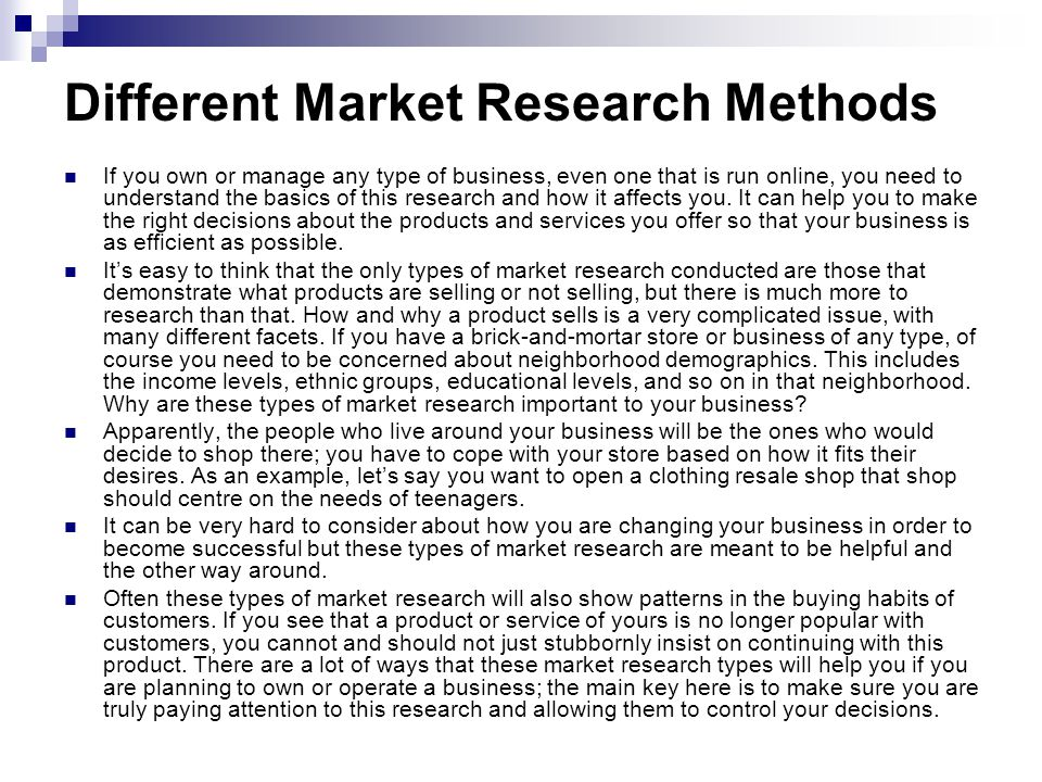 Different Market Research Methods Ppt Video Online Download