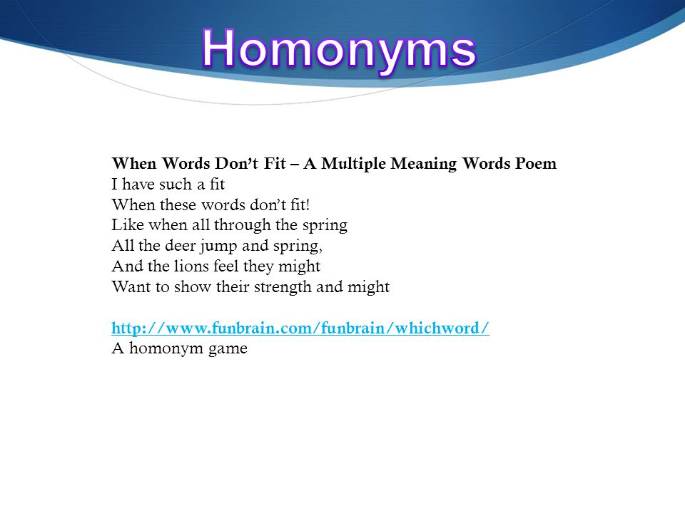 Homonyms Rhyme Scheme Point Of View Oh My! Ppt Video