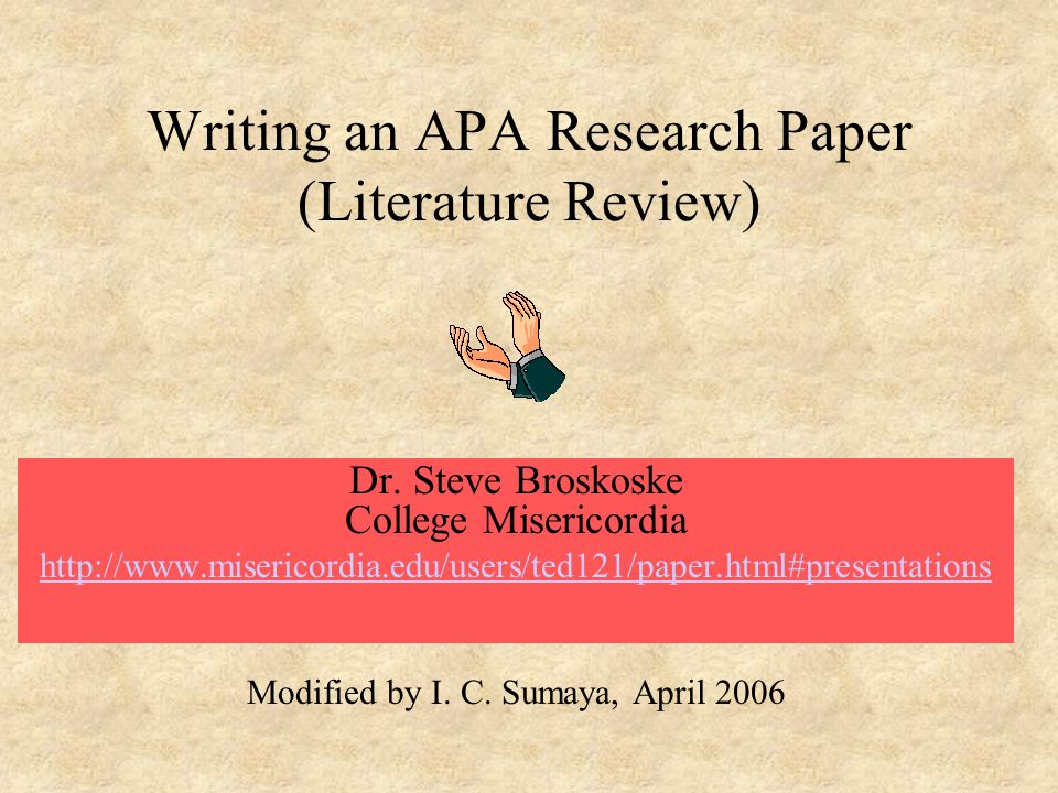 Writing An APA Research Paper Literature Review Ppt Video Online