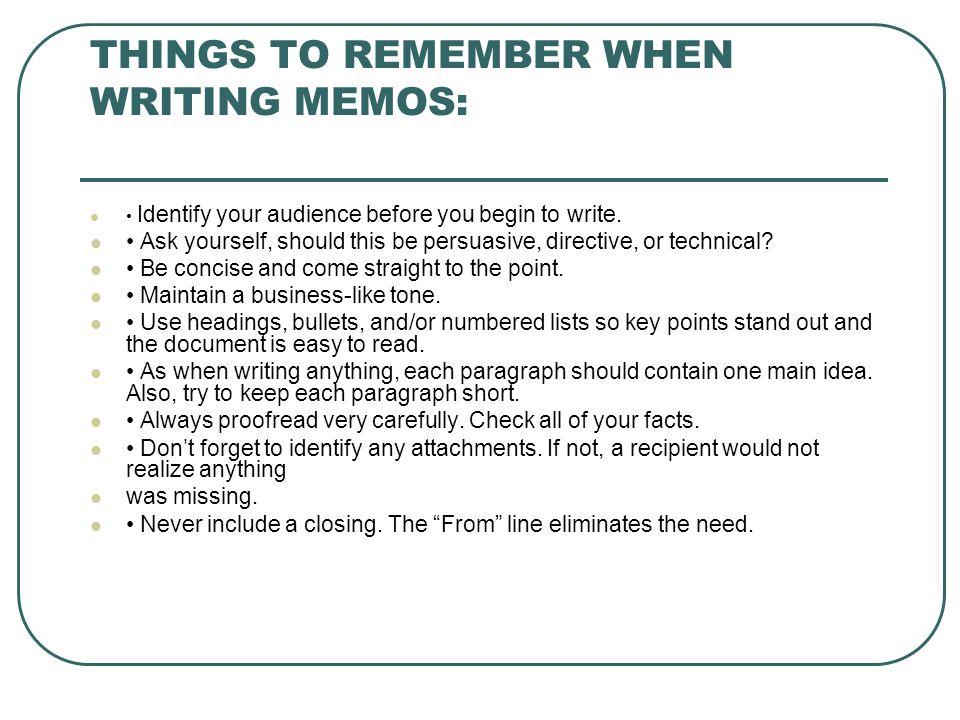 Business Memo Purpose Of Writer Needs Of Reader Memos