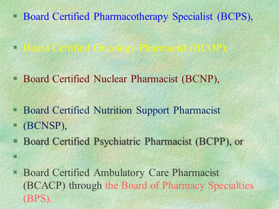 Board Certification For Pharmacists