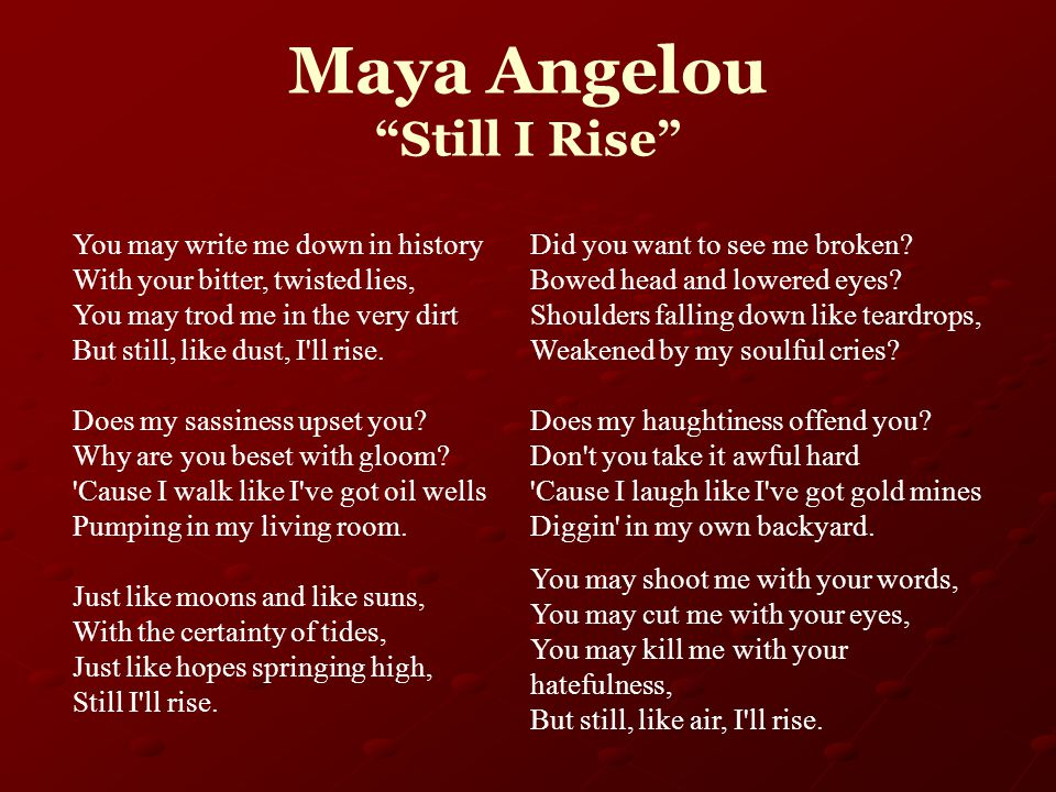 feminism in still i rise by maya angelou Still i rise by maya angelou you may write me down in history with your bitter,  twisted lies, you may trod me in the very dirt but still, like dust, i'll.