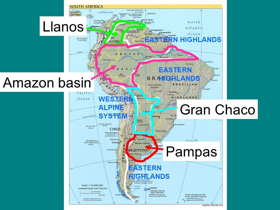 South America Brazilian Highlands Map