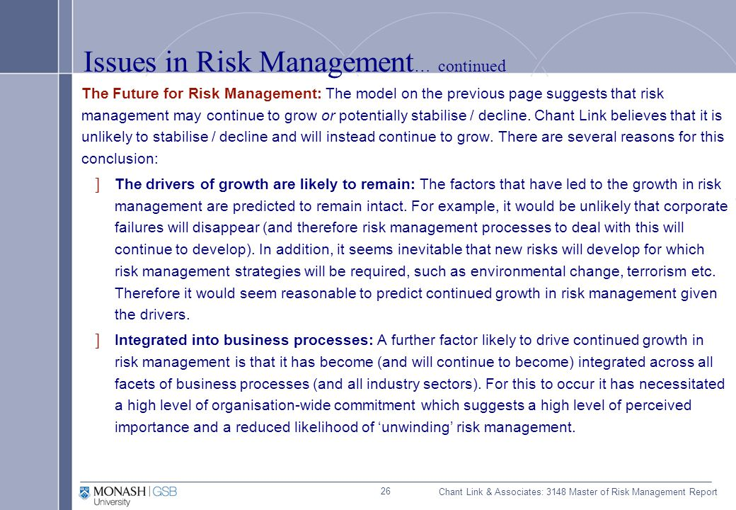 Example of a risk management report