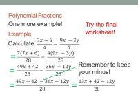 Adding And Subtracting Fractions Polynomials Worksheet