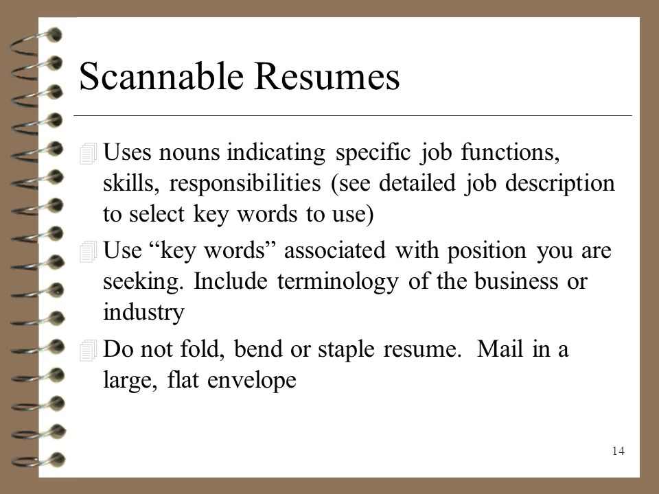 resume job description words