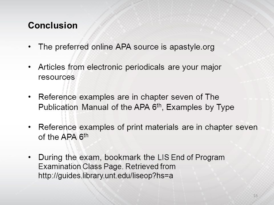 APA Review Library Information Sciences End Of Program