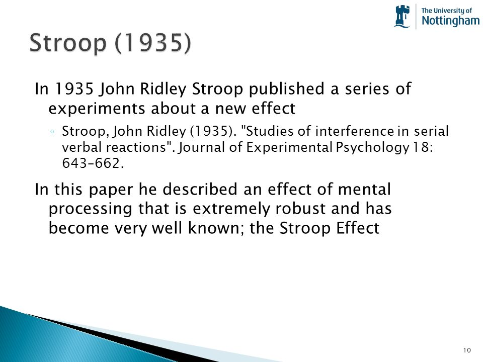 Lab 1 The Stroop Effect 1935 Measuring Interference Effects Ppt