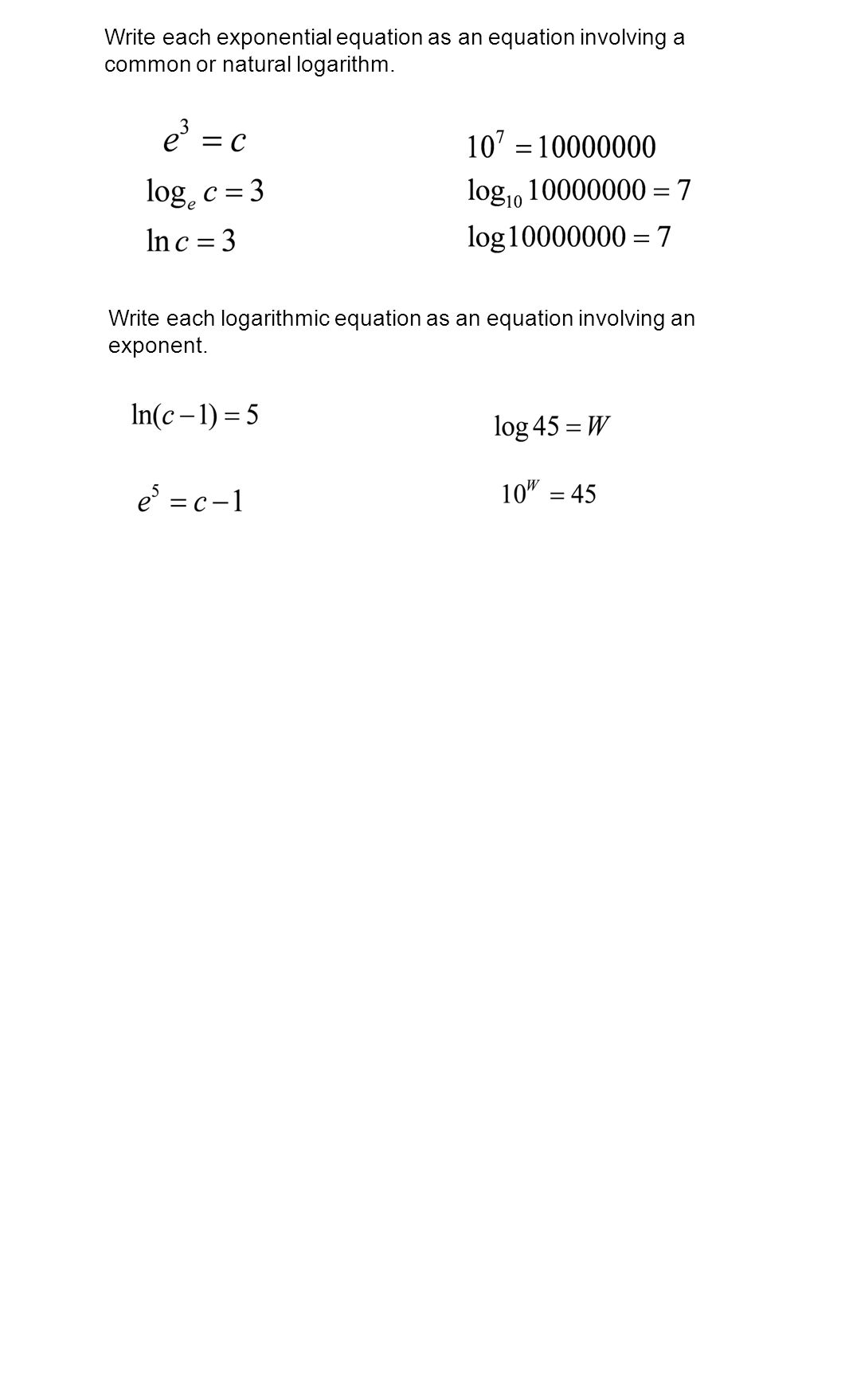 Solving Exponential Equations Worksheet Doc