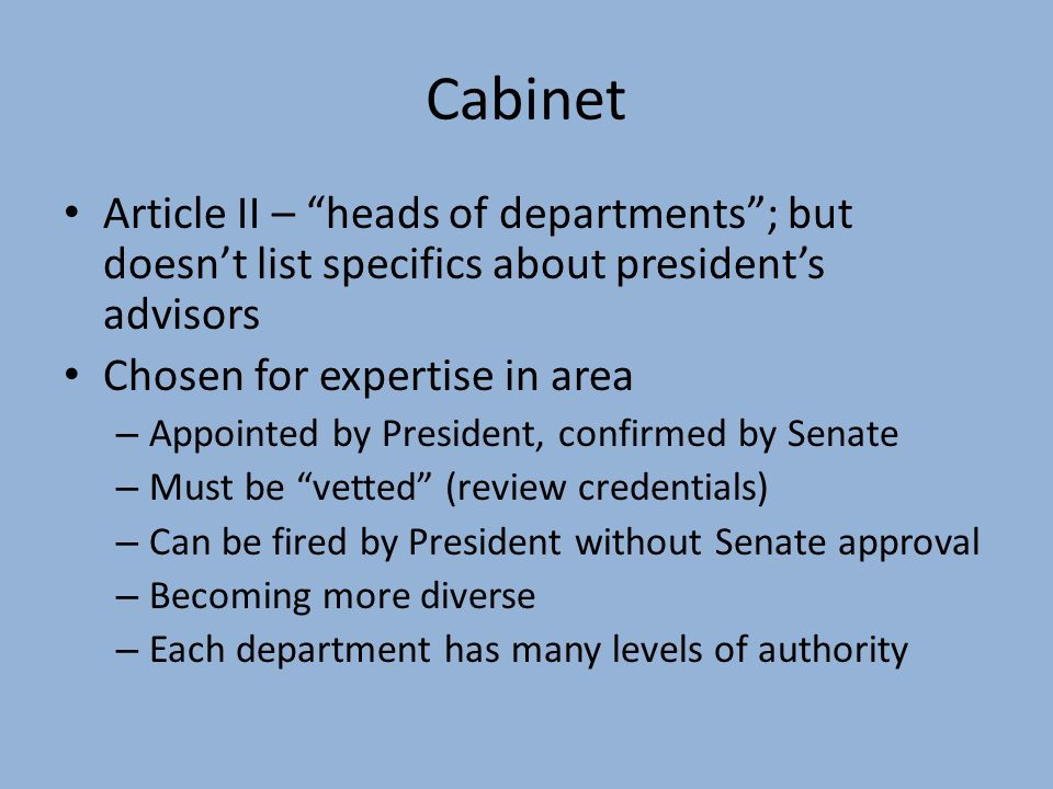 The Cabinet Officers Are Heads Of Functionalities Net