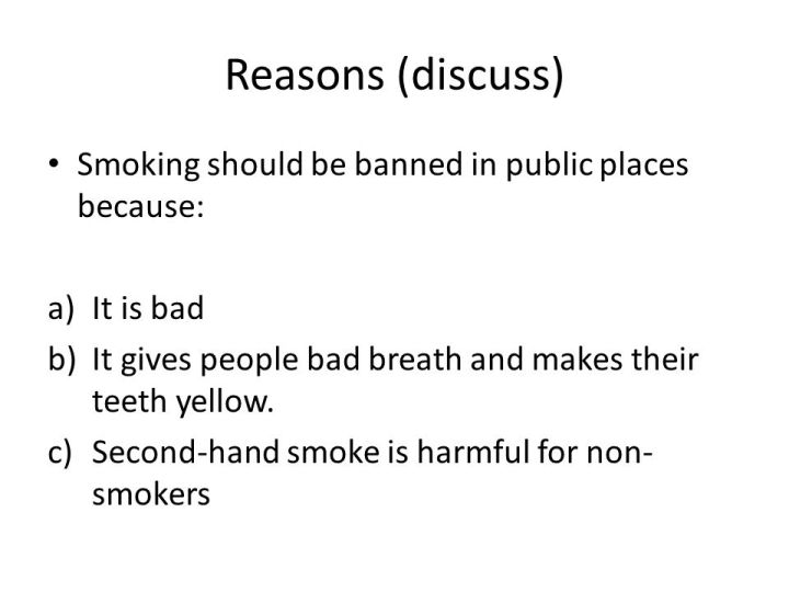 smoking should be prohibited essay Writing sample of essay on a given topic should cigarette smoking be banned.