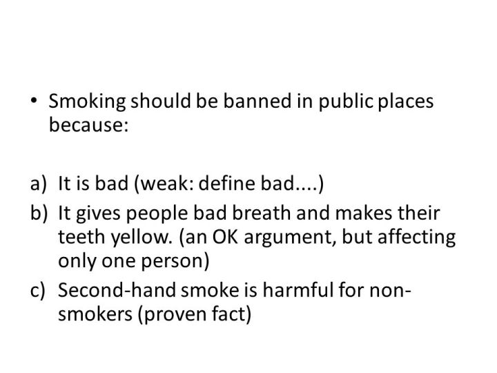 banning smoking in pubic places speech essay Essay: why smoking should not be banned and individuals against smoking have taken great strides to promote the cessation of smoking in public places.