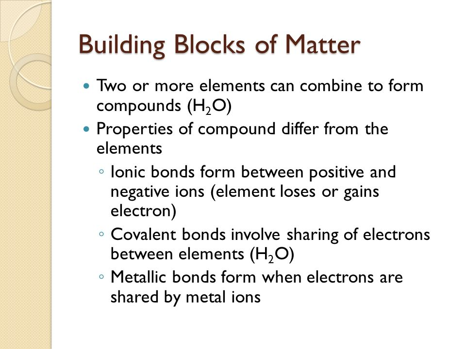 Building Blocks Matter Are Basic Element