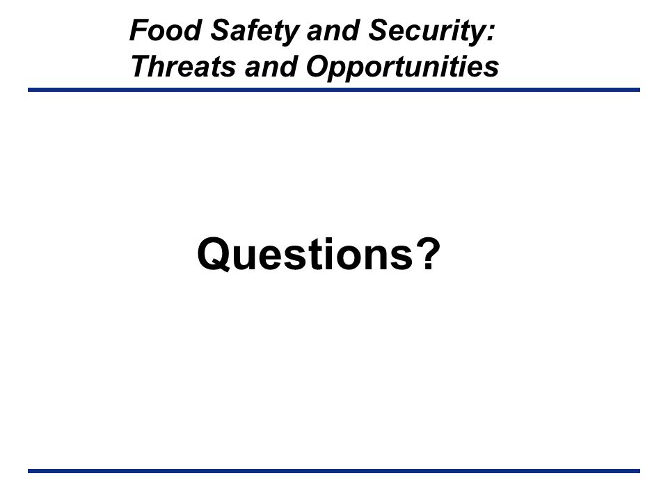 FOOD SAFETY AND SECURITY Operational Risk Management DHHS