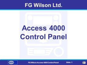 FG Wilson Access 4000 Control Panel  ppt video online