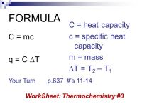 Unit 3: Thermochemistry - ppt video online download