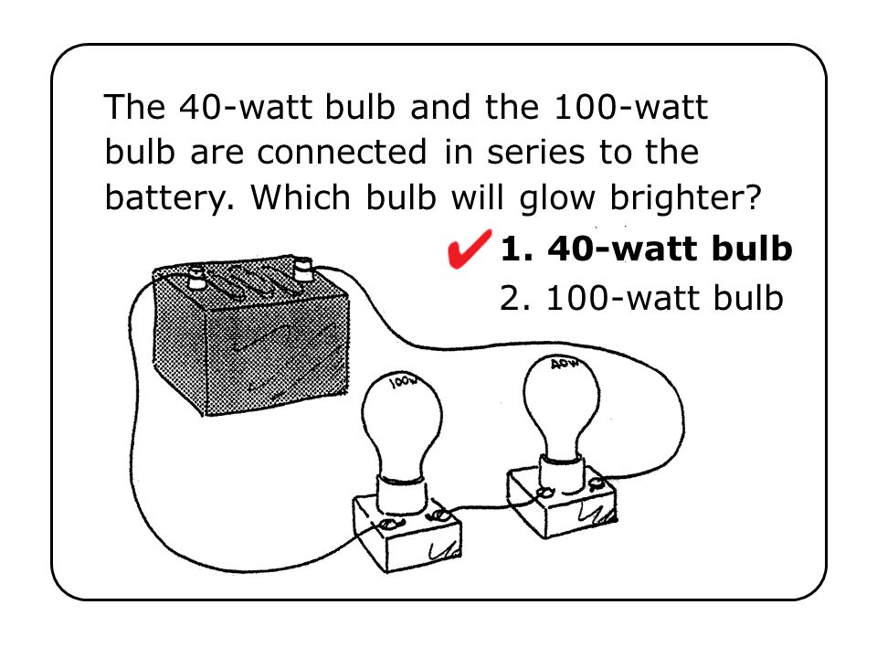When the series circuit shown to the right is connected