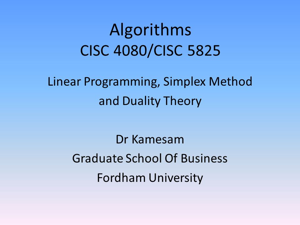 Simplex Method Of Solving Linear Programming Problem - Resume